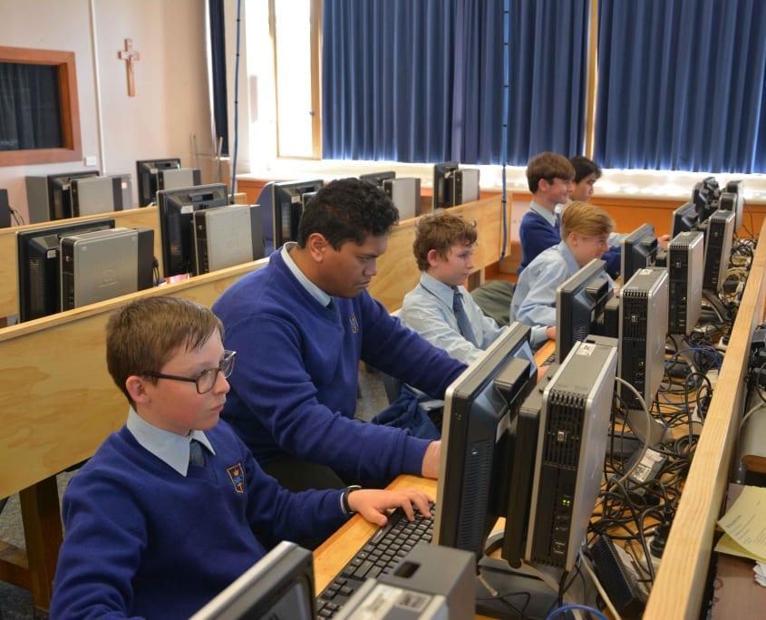 SBC Digital Technology Students on PC's